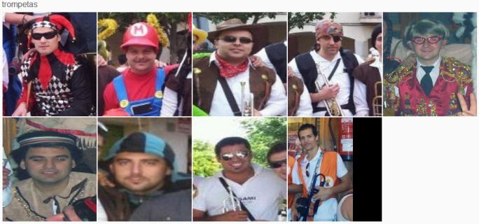Javi (Pitorro), Pedro, Emilio, Javi(Mariachi),Carlos (Charly),Jose Carlos(Pol),Vicente,Jorge,Enrique(Cristiano)